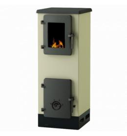 termor beograd alfa plam peć peći na čvrsto gorivo bež boja livena plotna livena vrata  ložišta ima staklo na vratima ložišta
