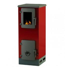 termor beograd alfa plam peć peći na čvrsto gorivo crvena boja livena plotna livena vrata  ložišta ima staklo na vratima ložišta